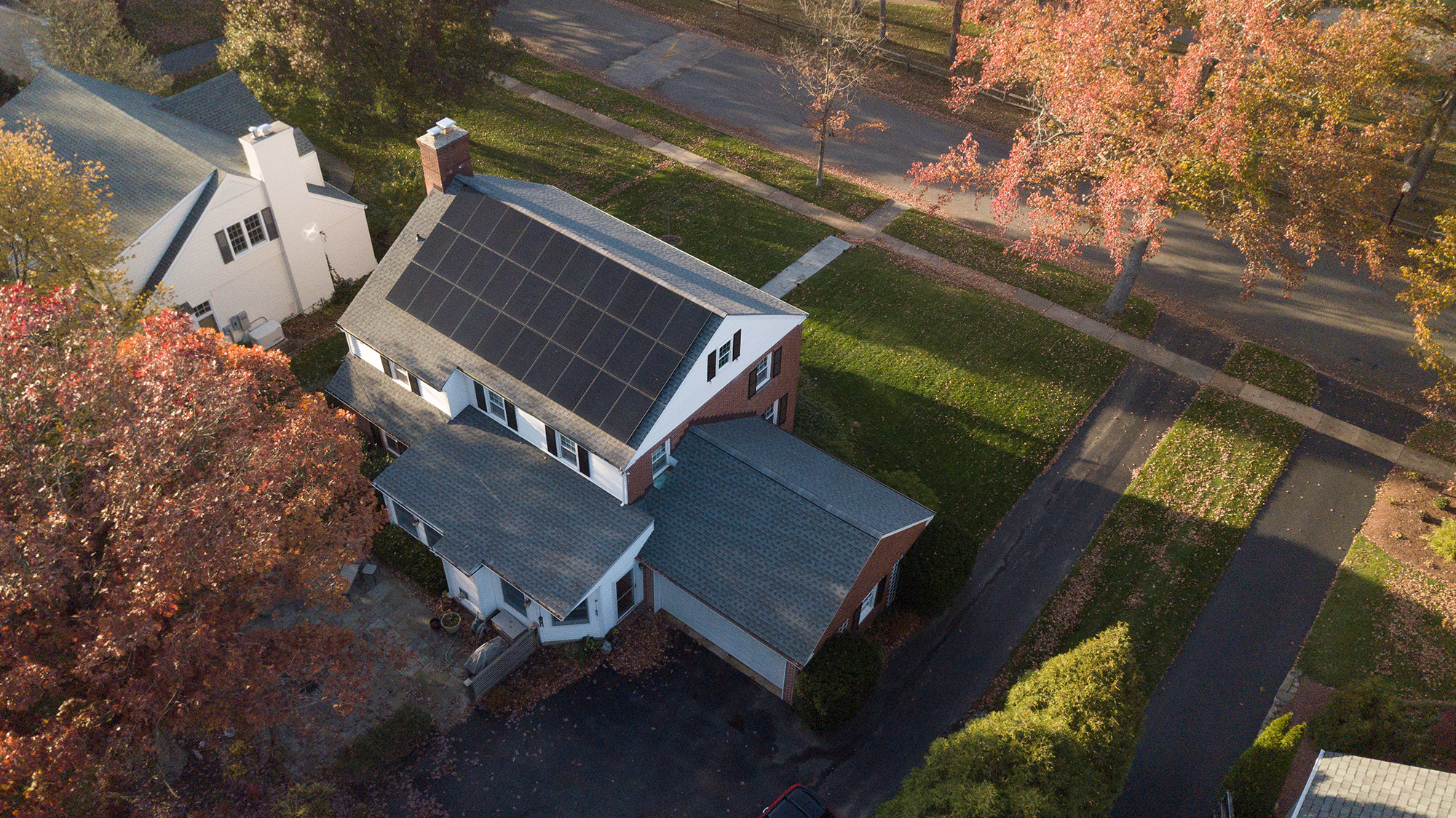 View from above of the TerraSol solar system installed on the rooftop of Dean F.'s New Castle County home.